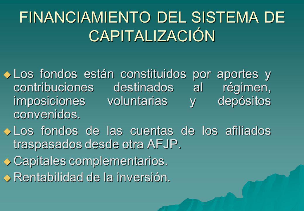 FINANCIAMIENTO DEL SISTEMA DE CAPITALIZACIÓN Los fondos están constituidos por aportes y contribuciones destinados al régimen, imposiciones voluntaria