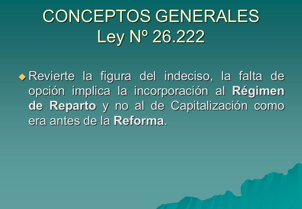 CONCEPTOS GENERALES Ley Nº 26.222 Revierte la figura del indeciso, la falta de opción implica la incorporación al Régimen de Reparto y no al de Capita