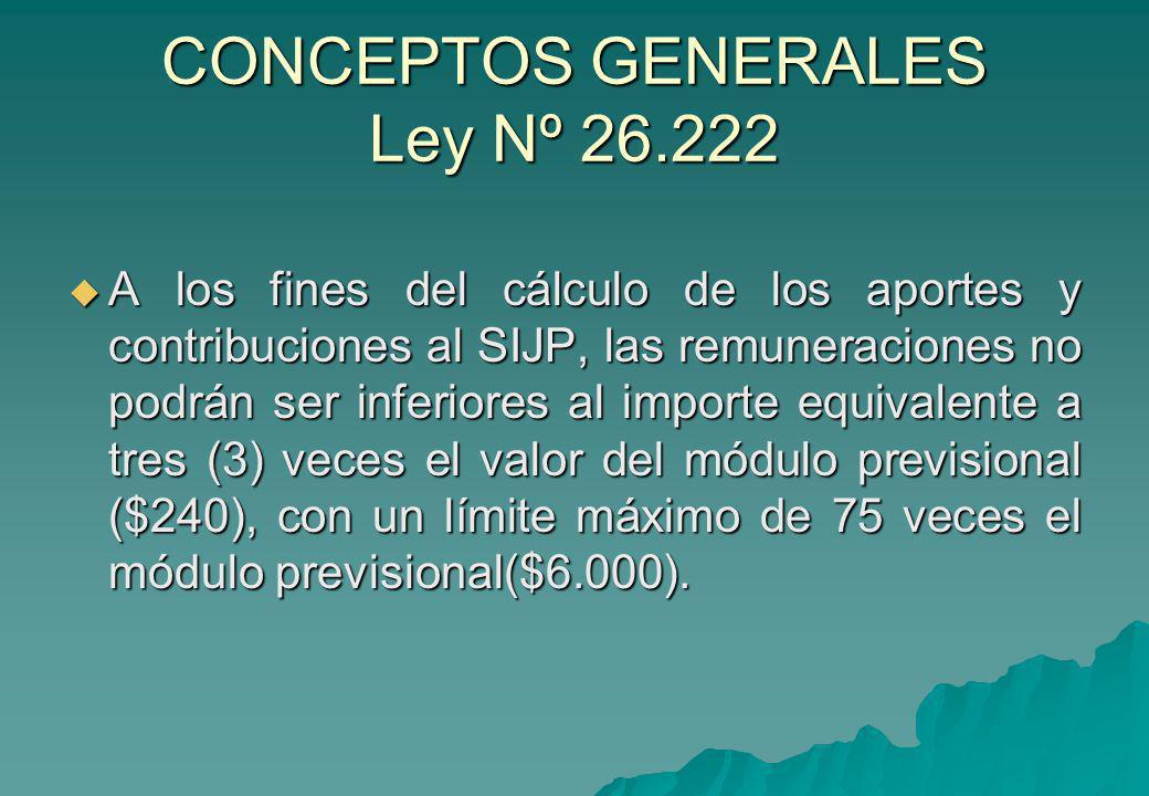CONCEPTOS GENERALES Ley Nº 26.222 A los fines del cálculo de los aportes y contribuciones al SIJP, las remuneraciones no podrán ser inferiores al impo