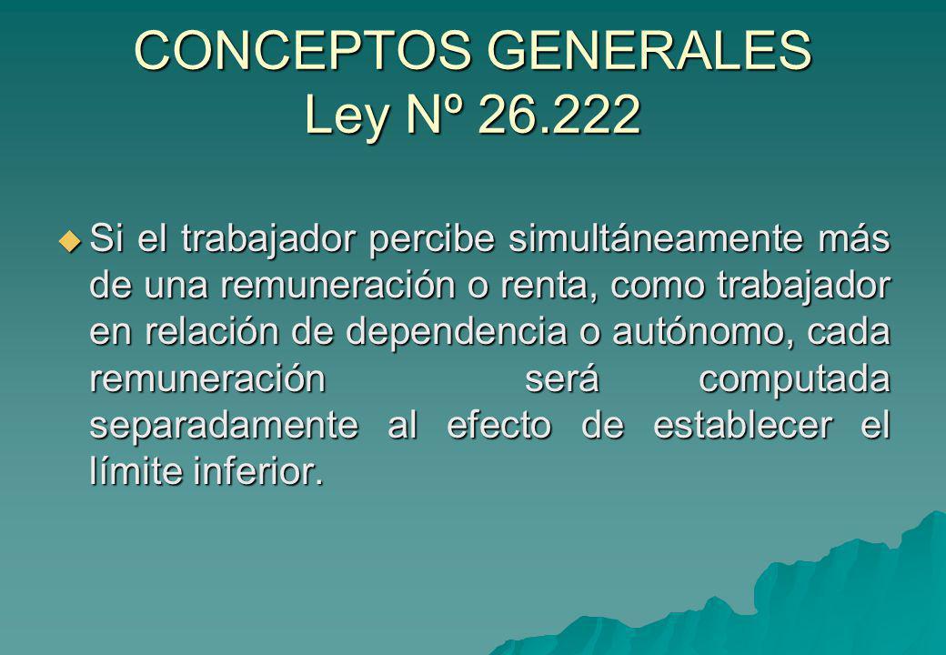 CONCEPTOS GENERALES Ley Nº 26.222 Si el trabajador percibe simultáneamente más de una remuneración o renta, como trabajador en relación de dependencia