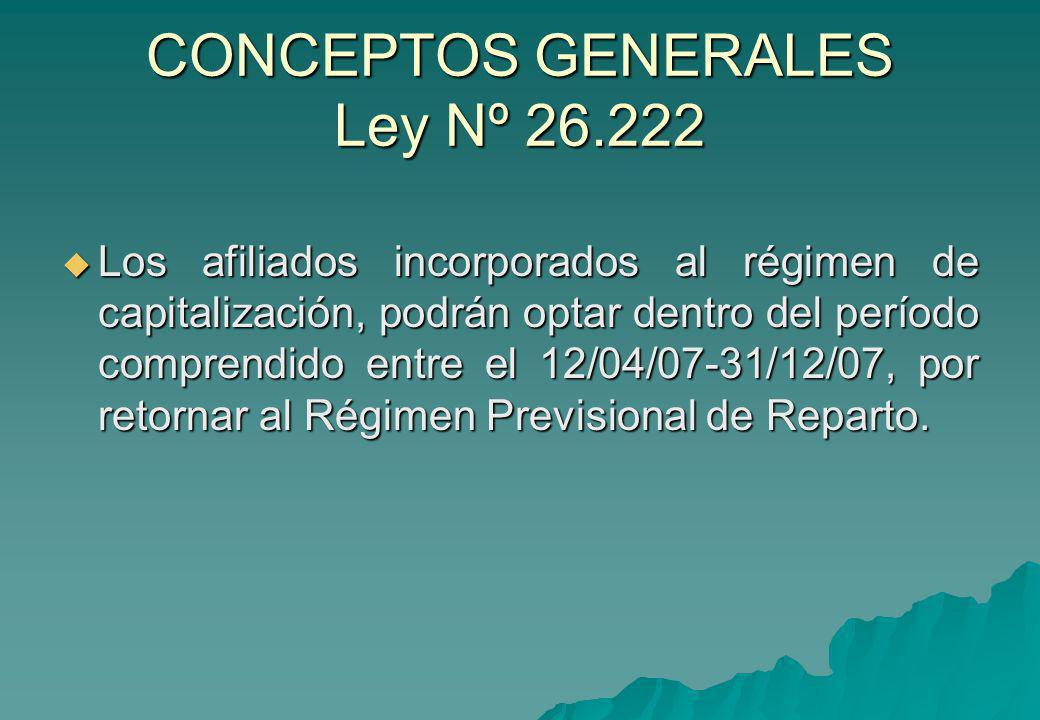 CONCEPTOS GENERALES Ley Nº 26.222 Los afiliados incorporados al régimen de capitalización, podrán optar dentro del período comprendido entre el 12/04/