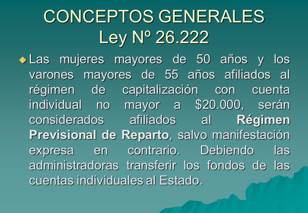 CONCEPTOS GENERALES Ley Nº 26.222 Las mujeres mayores de 50 años y los varones mayores de 55 años afiliados al régimen de capitalización con cuenta in