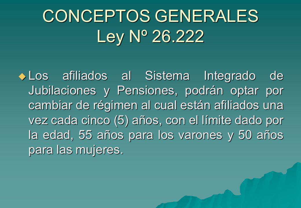 CONCEPTOS GENERALES Ley Nº 26.222 Los afiliados al Sistema Integrado de Jubilaciones y Pensiones, podrán optar por cambiar de régimen al cual están af