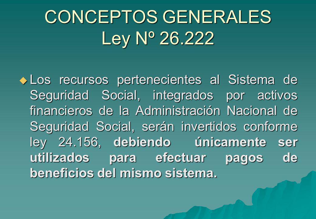 CONCEPTOS GENERALES Ley Nº 26.222 Los recursos pertenecientes al Sistema de Seguridad Social, integrados por activos financieros de la Administración