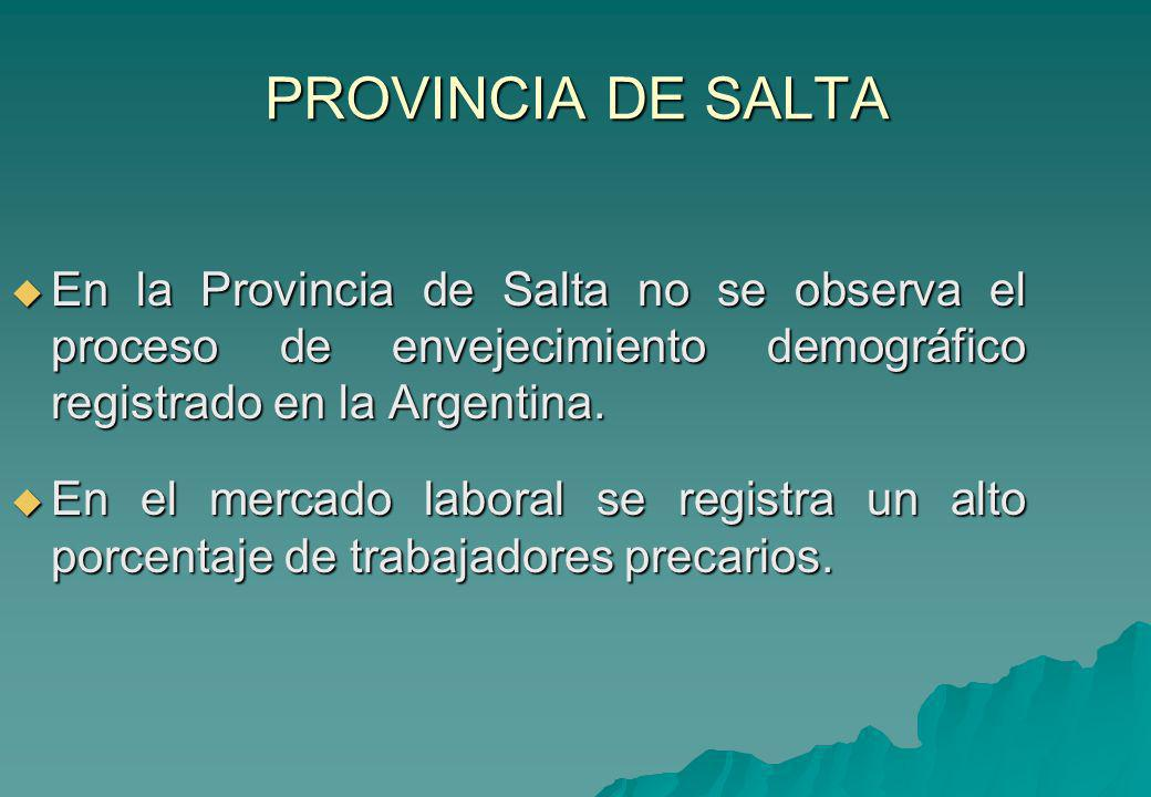 PROVINCIA DE SALTA En la Provincia de Salta no se observa el proceso de envejecimiento demográfico registrado en la Argentina. En la Provincia de Salt