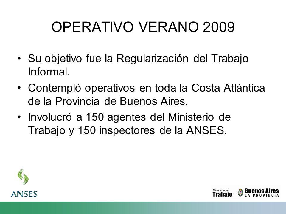 OPERATIVO VERANO 2009 Su objetivo fue la Regularización del Trabajo Informal. Contempló operativos en toda la Costa Atlántica de la Provincia de Bueno