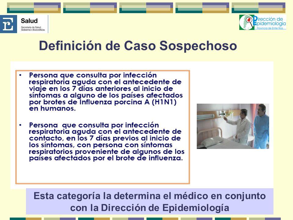 Esta categoría la determina el médico en conjunto con la Dirección de Epidemiología Definición de Caso Sospechoso