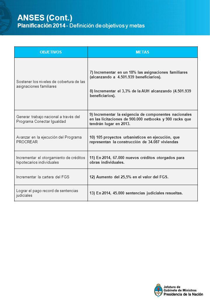ANSES (Cont.) Planificación 2014 - Definición de objetivos y metas OBJETIVOSMETAS Sostener los niveles de cobertura de las asignaciones familiares 7) Incrementar en un 18% las asignaciones familiares (alcanzando a 4.501.939 beneficiarios).