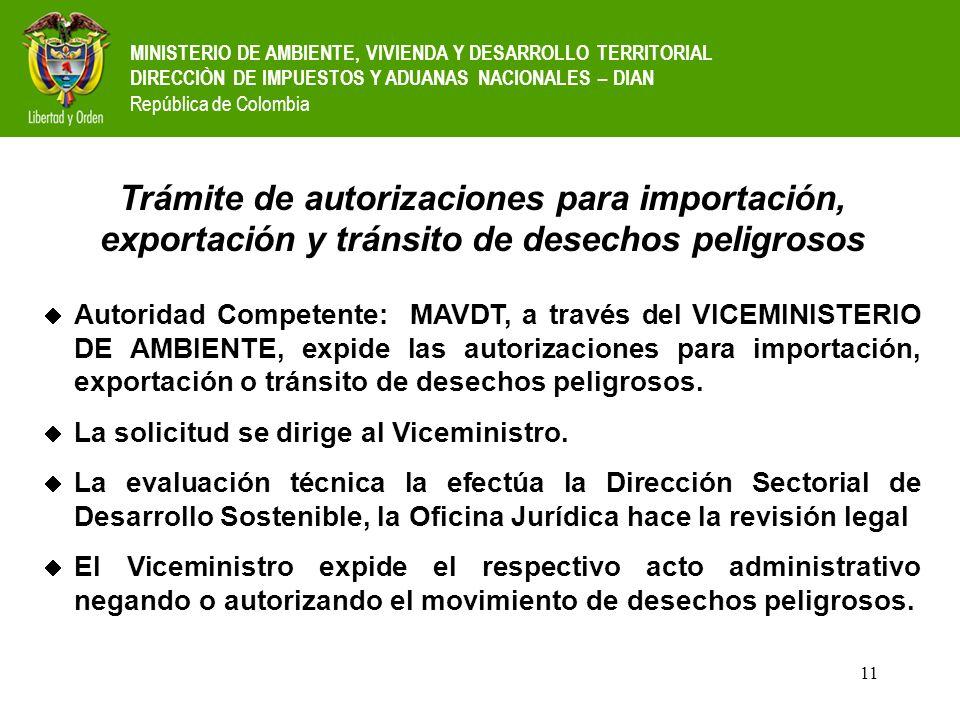 11 MINISTERIO DE AMBIENTE, VIVIENDA Y DESARROLLO TERRITORIAL DIRECCIÒN DE IMPUESTOS Y ADUANAS NACIONALES – DIAN República de Colombia Trámite de autor