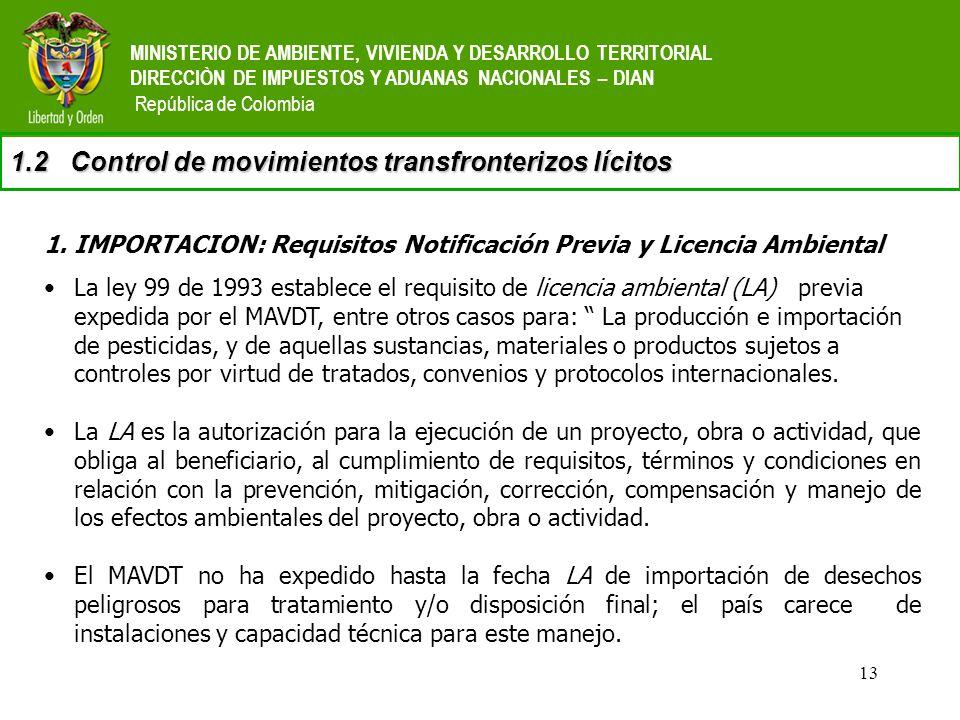 13 MINISTERIO DE AMBIENTE, VIVIENDA Y DESARROLLO TERRITORIAL DIRECCIÒN DE IMPUESTOS Y ADUANAS NACIONALES – DIAN República de Colombia 1.2Control de mo