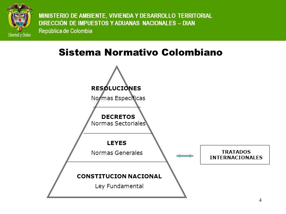4 MINISTERIO DE AMBIENTE, VIVIENDA Y DESARROLLO TERRITORIAL DIRECCIÒN DE IMPUESTOS Y ADUANAS NACIONALES – DIAN República de Colombia Sistema Normativo