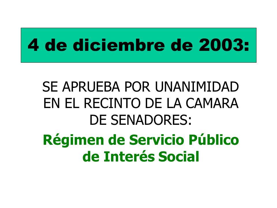 4 de diciembre de 2003: SE APRUEBA POR UNANIMIDAD EN EL RECINTO DE LA CAMARA DE SENADORES: Régimen de Servicio Público de Interés Social