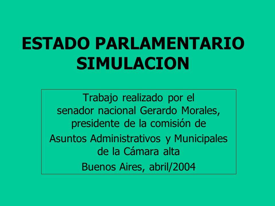 ESTADO PARLAMENTARIO SIMULACION Trabajo realizado por el senador nacional Gerardo Morales, presidente de la comisión de Asuntos Administrativos y Municipales de la Cámara alta Buenos Aires, abril/2004
