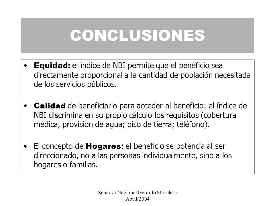 Senador Nacional Gerardo Morales - Abril/2004 CONCLUSIONES Equidad: el índice de NBI permite que el beneficio sea directamente proporcional a la cantidad de población necesitada de los servicios públicos.