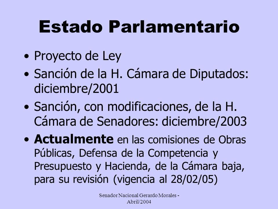 Senador Nacional Gerardo Morales - Abril/2004 Estado Parlamentario Proyecto de Ley Sanción de la H.