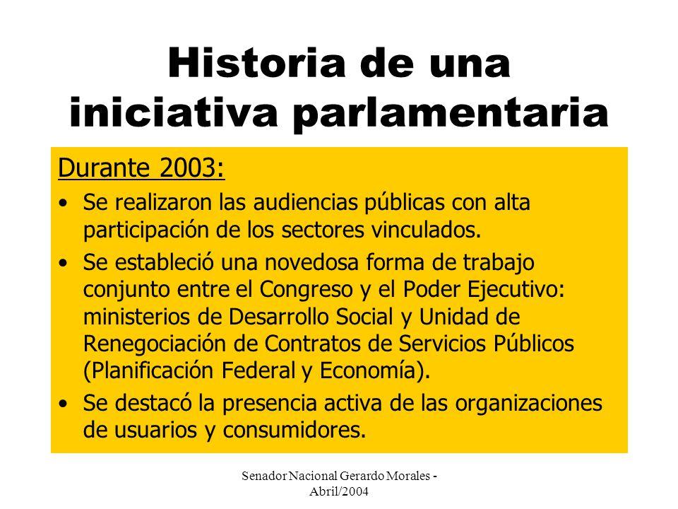 Senador Nacional Gerardo Morales - Abril/2004 Historia de una iniciativa parlamentaria Durante 2003: Se realizaron las audiencias públicas con alta participación de los sectores vinculados.
