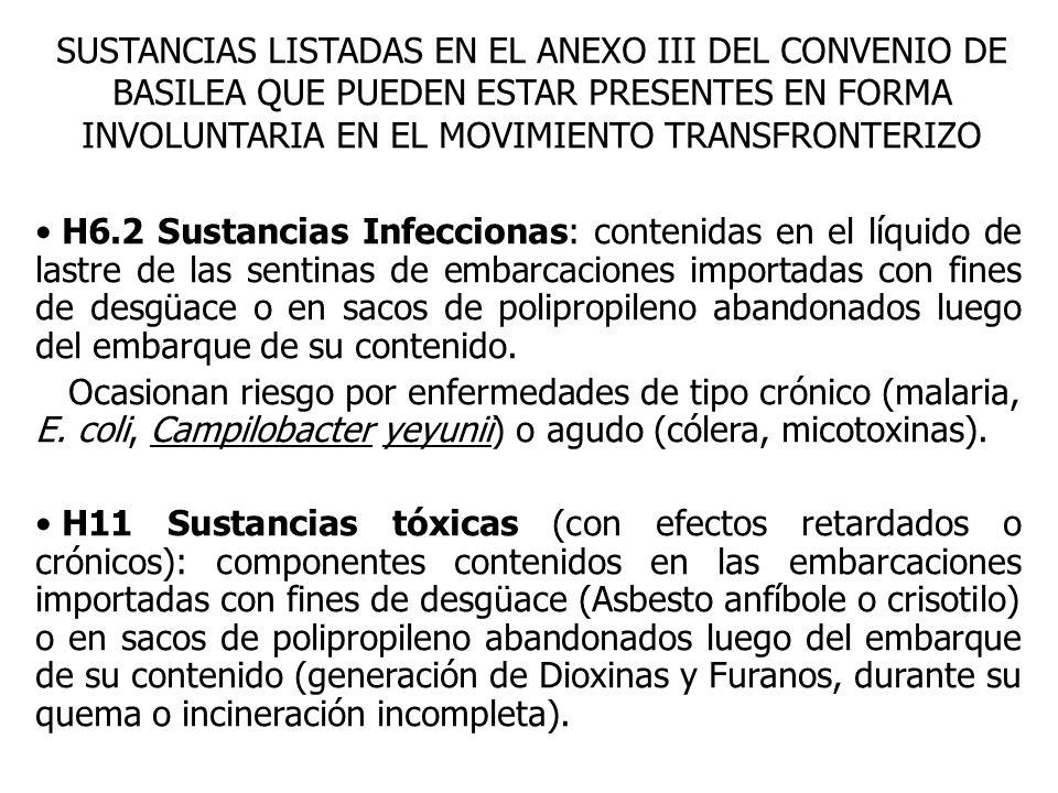 SUSTANCIAS LISTADAS EN EL ANEXO III DEL CONVENIO DE BASILEA QUE PUEDEN ESTAR PRESENTES EN FORMA INVOLUNTARIA EN EL MOVIMIENTO TRANSFRONTERIZO H6.2 Sustancias Infeccionas: contenidas en el líquido de lastre de las sentinas de embarcaciones importadas con fines de desgüace o en sacos de polipropileno abandonados luego del embarque de su contenido.