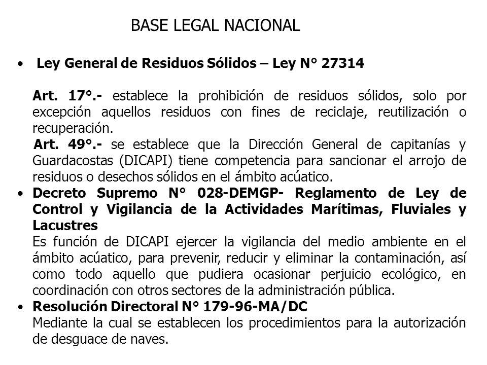 BASE LEGAL NACIONAL Ley General de Residuos Sólidos – Ley N° 27314 Art. 17°.- establece la prohibición de residuos sólidos, solo por excepción aquello