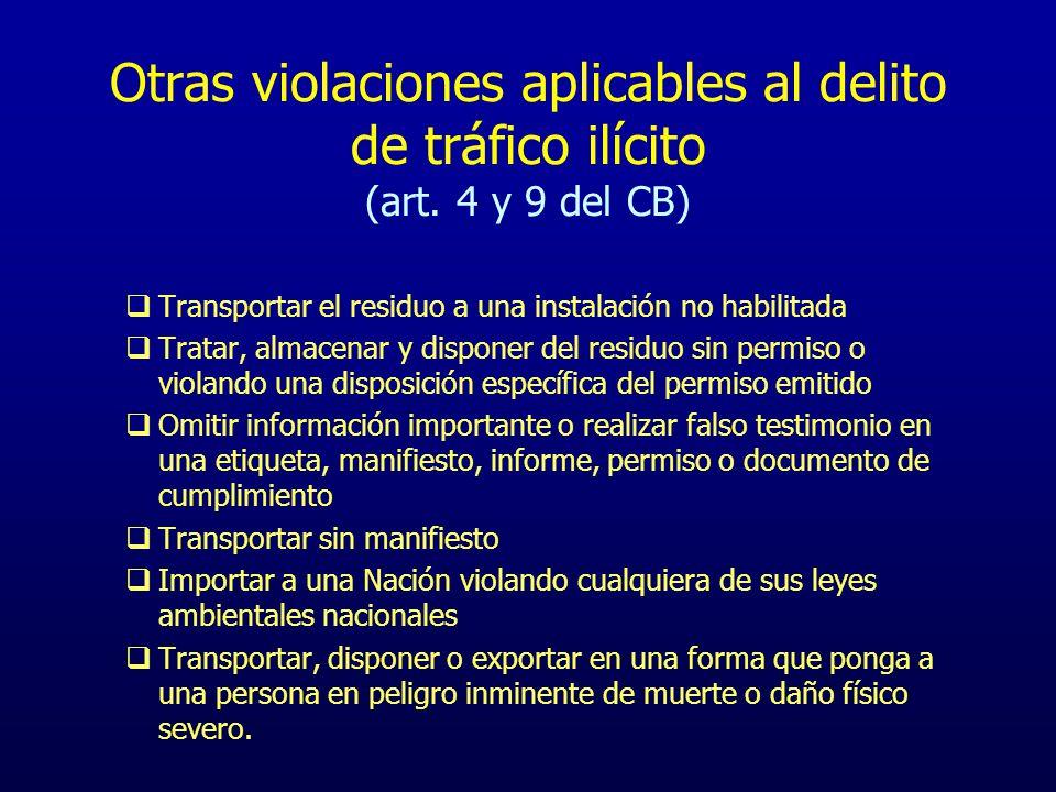 Otras violaciones aplicables al delito de tráfico ilícito (art. 4 y 9 del CB) Transportar el residuo a una instalación no habilitada Tratar, almacenar