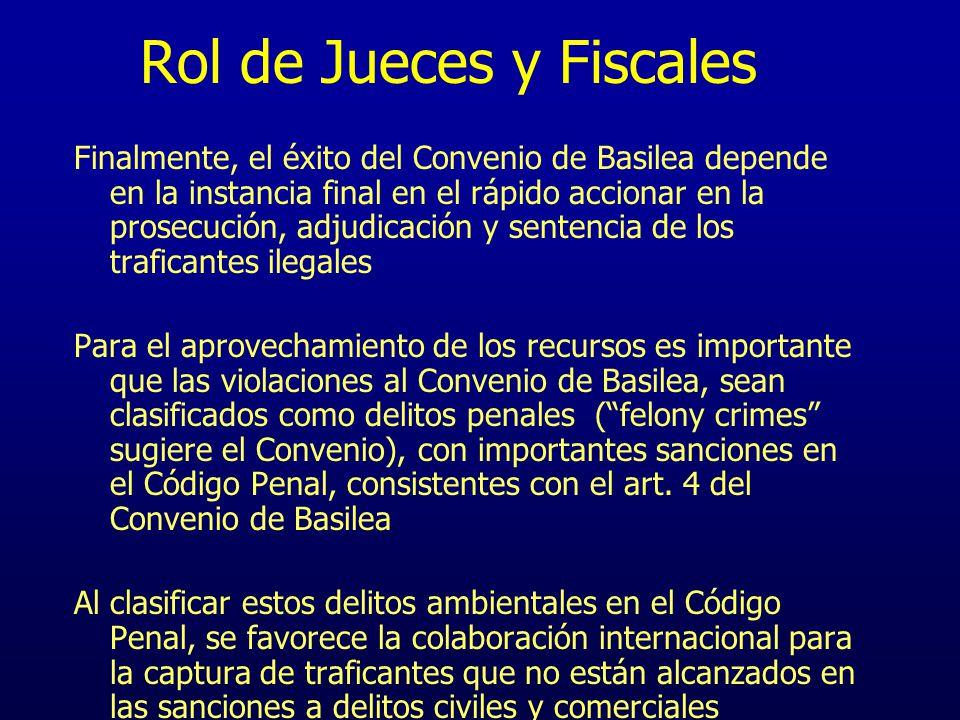 Rol de Jueces y Fiscales Finalmente, el éxito del Convenio de Basilea depende en la instancia final en el rápido accionar en la prosecución, adjudicac