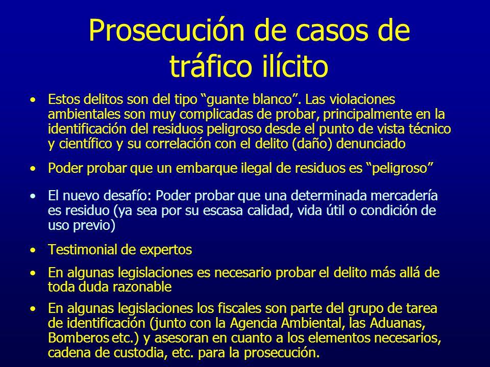 Prosecución de casos de tráfico ilícito Estos delitos son del tipo guante blanco. Las violaciones ambientales son muy complicadas de probar, principal