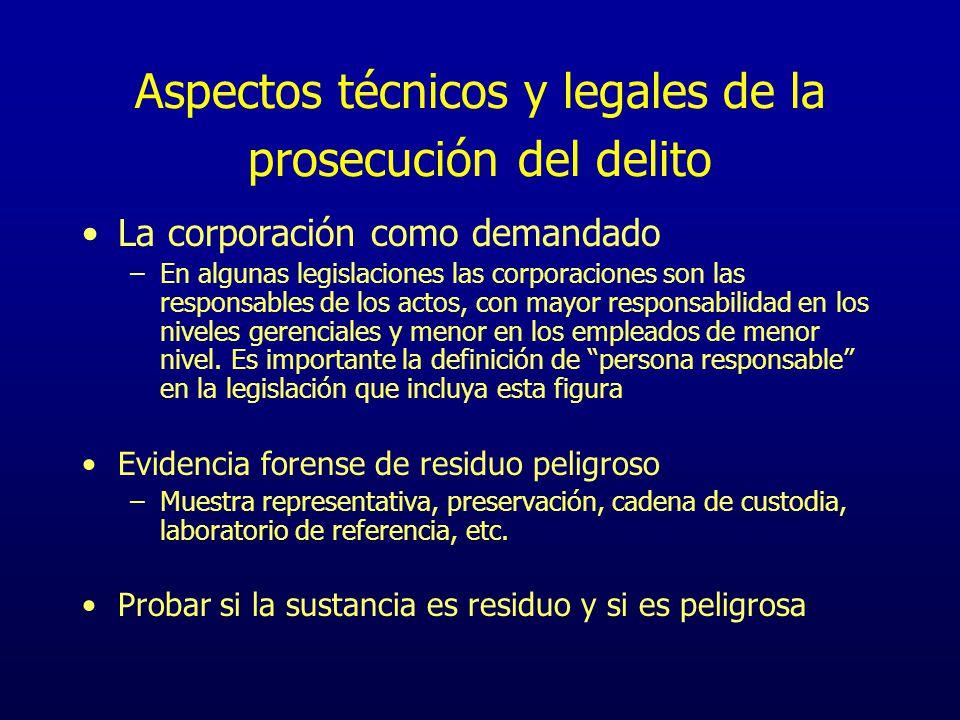 Aspectos técnicos y legales de la prosecución del delito La corporación como demandado –En algunas legislaciones las corporaciones son las responsable