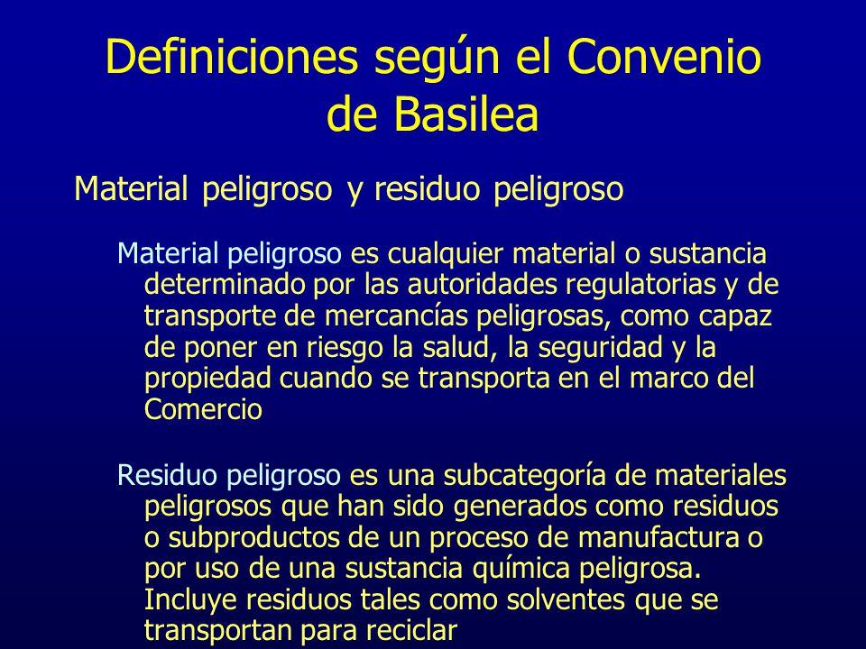 Definiciones según el Convenio de Basilea Material peligroso y residuo peligroso Material peligroso es cualquier material o sustancia determinado por