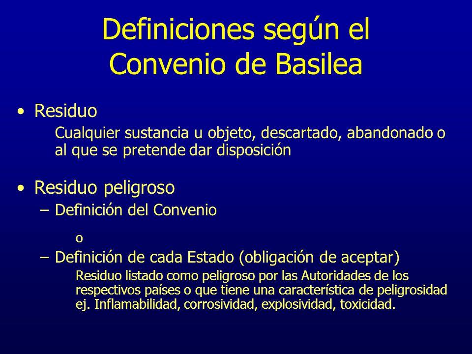 Definiciones según el Convenio de Basilea Residuo Cualquier sustancia u objeto, descartado, abandonado o al que se pretende dar disposición Residuo pe