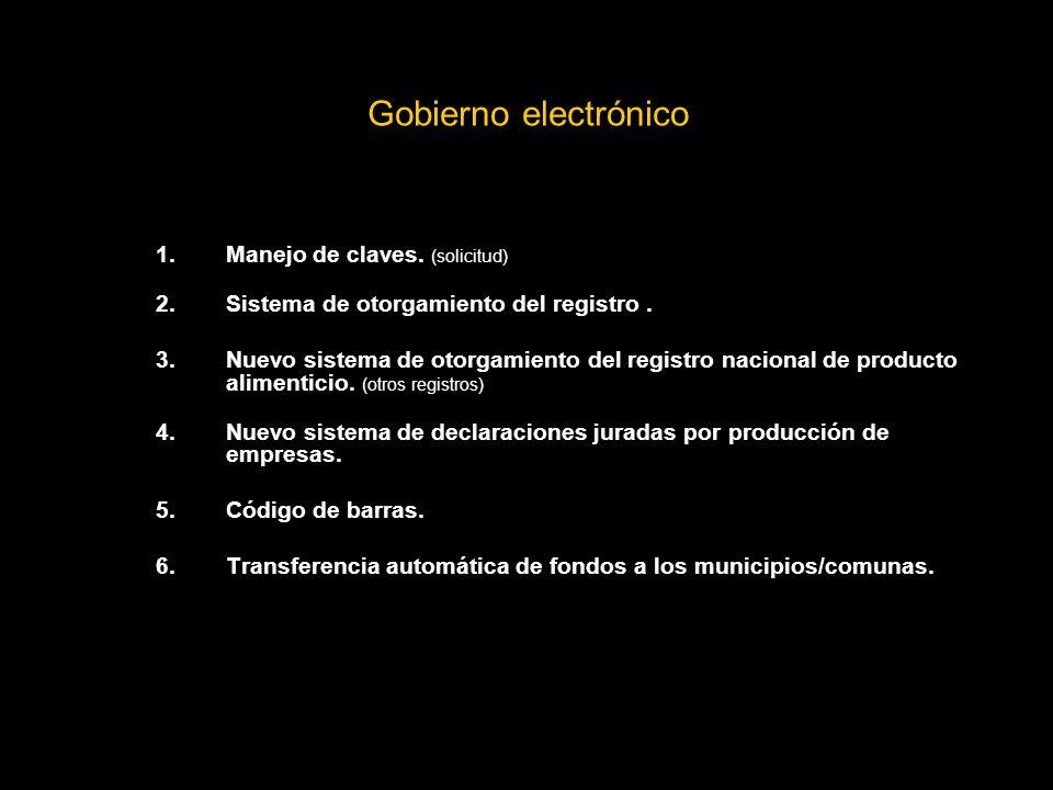 Gobierno electrónico 1.Manejo de claves.(solicitud) 2.Sistema de otorgamiento del registro.