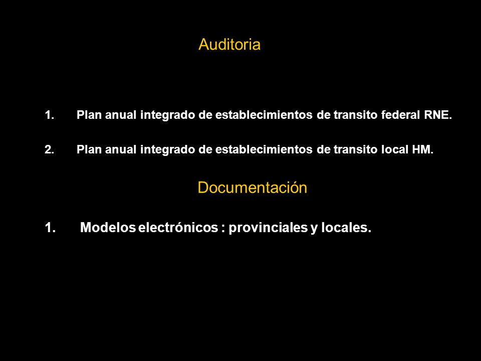 Auditoria 1.Plan anual integrado de establecimientos de transito federal RNE.