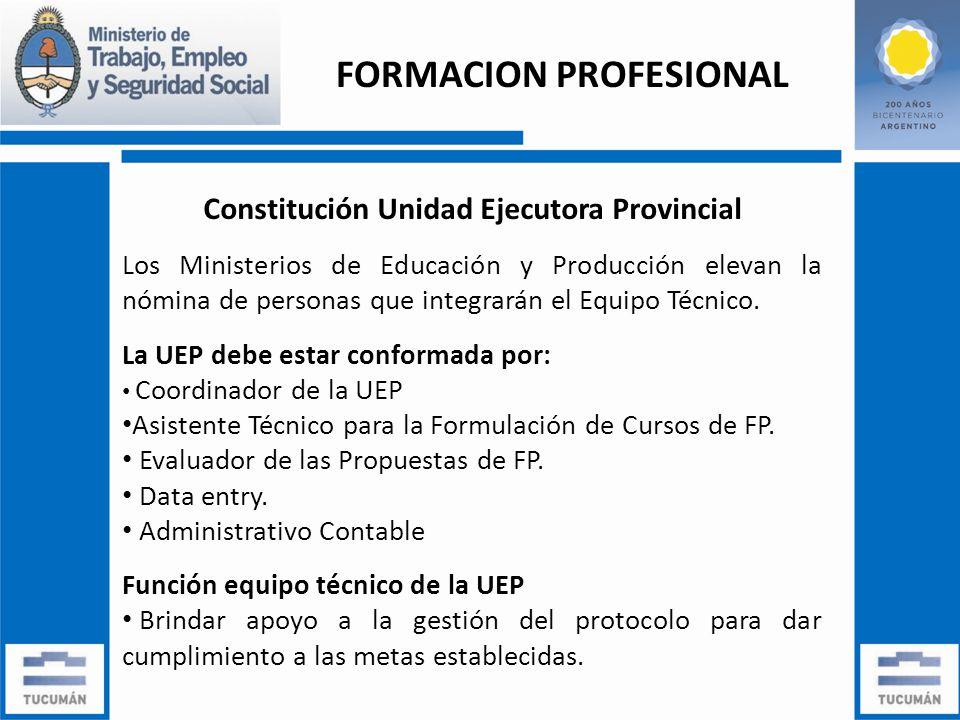 Constitución Unidad Ejecutora Provincial Los Ministerios de Educación y Producción elevan la nómina de personas que integrarán el Equipo Técnico.