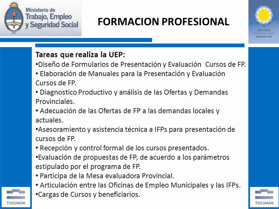 Tareas que realiza la UEP: Diseño de Formularios de Presentación y Evaluación Cursos de FP.