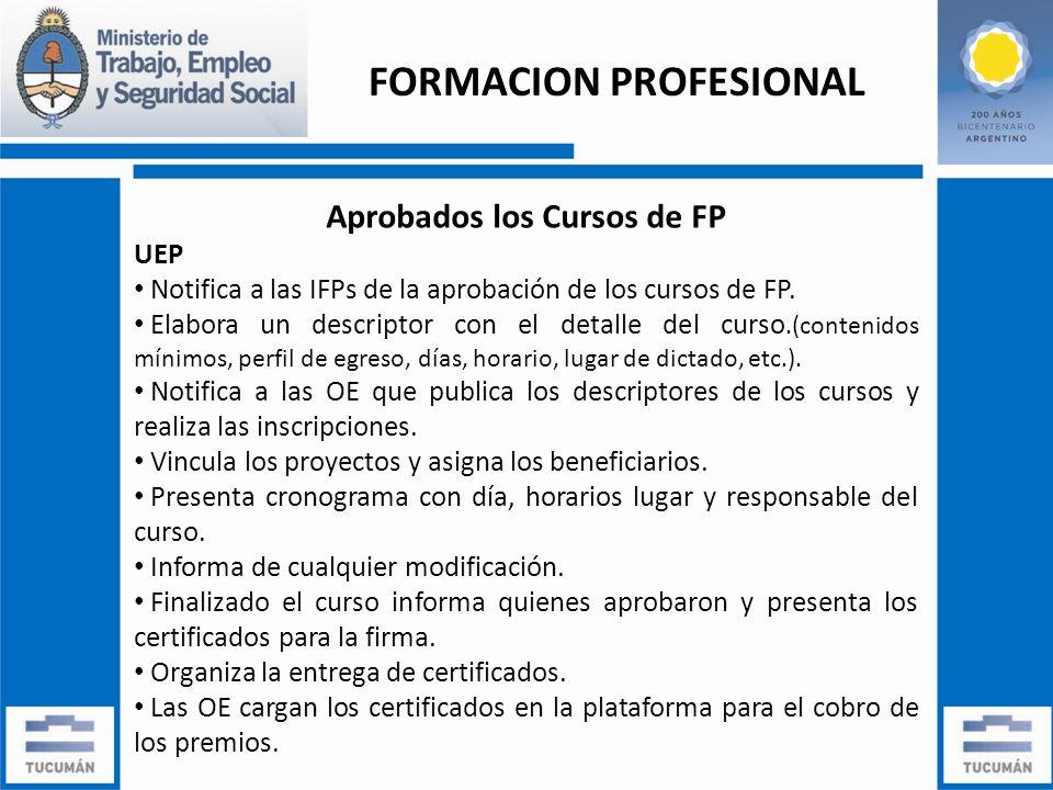Aprobados los Cursos de FP UEP Notifica a las IFPs de la aprobación de los cursos de FP.