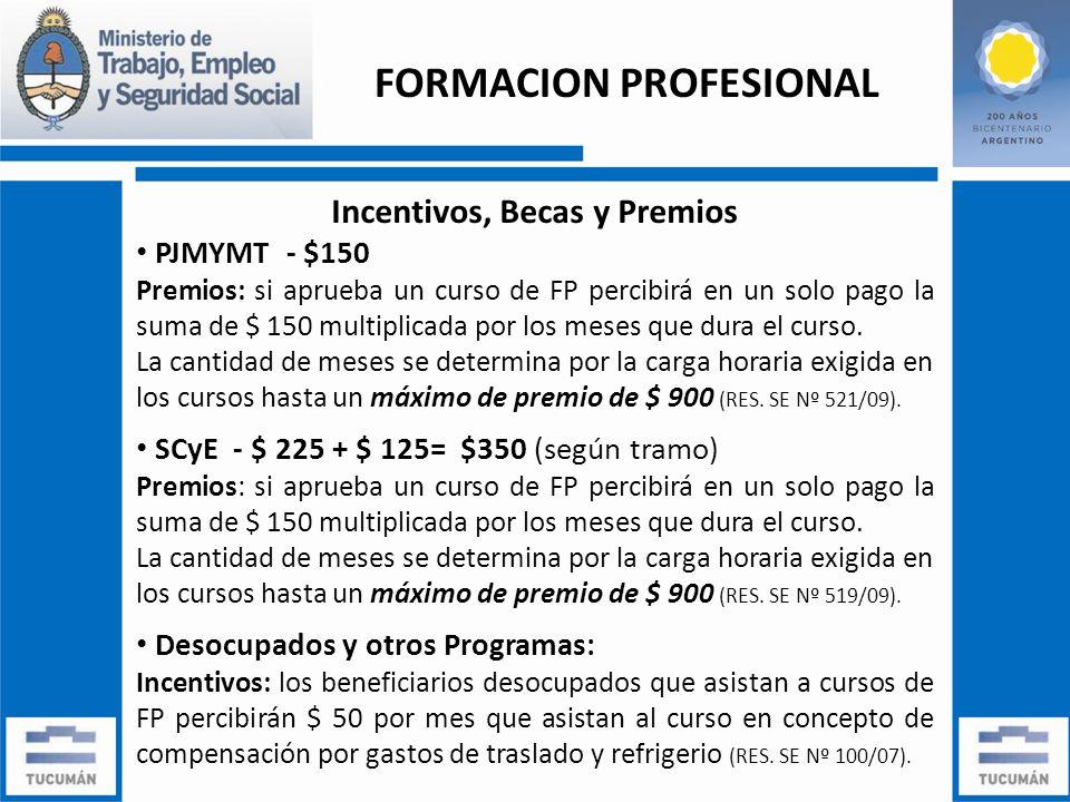 Incentivos, Becas y Premios PJMYMT - $150 Premios: si aprueba un curso de FP percibirá en un solo pago la suma de $ 150 multiplicada por los meses que dura el curso.