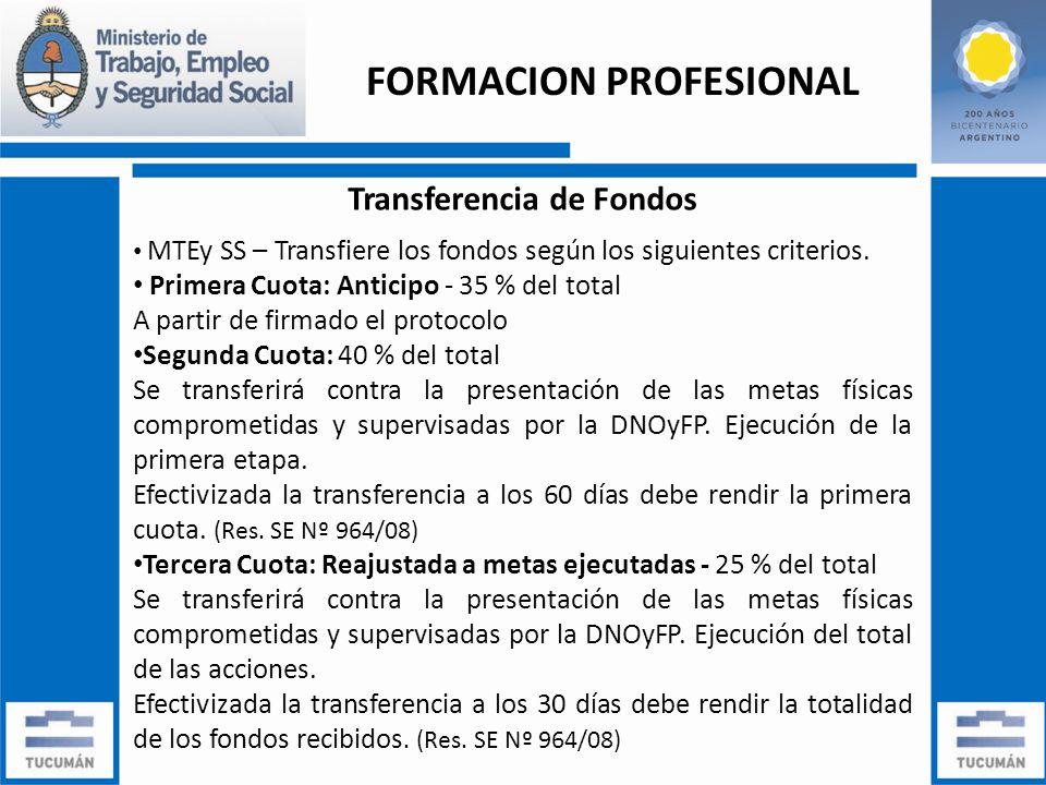 Transferencia de Fondos MTEy SS – Transfiere los fondos según los siguientes criterios.