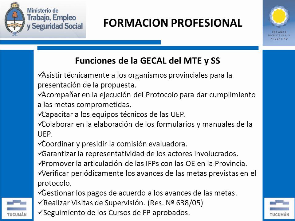 Funciones de la GECAL del MTE y SS Asistir técnicamente a los organismos provinciales para la presentación de la propuesta.