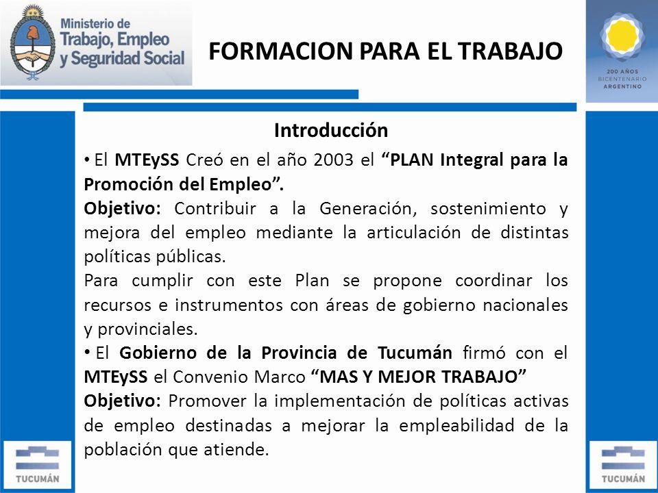 FORMACION PARA EL TRABAJO Introducción El MTEySS Creó en el año 2003 el PLAN Integral para la Promoción del Empleo.