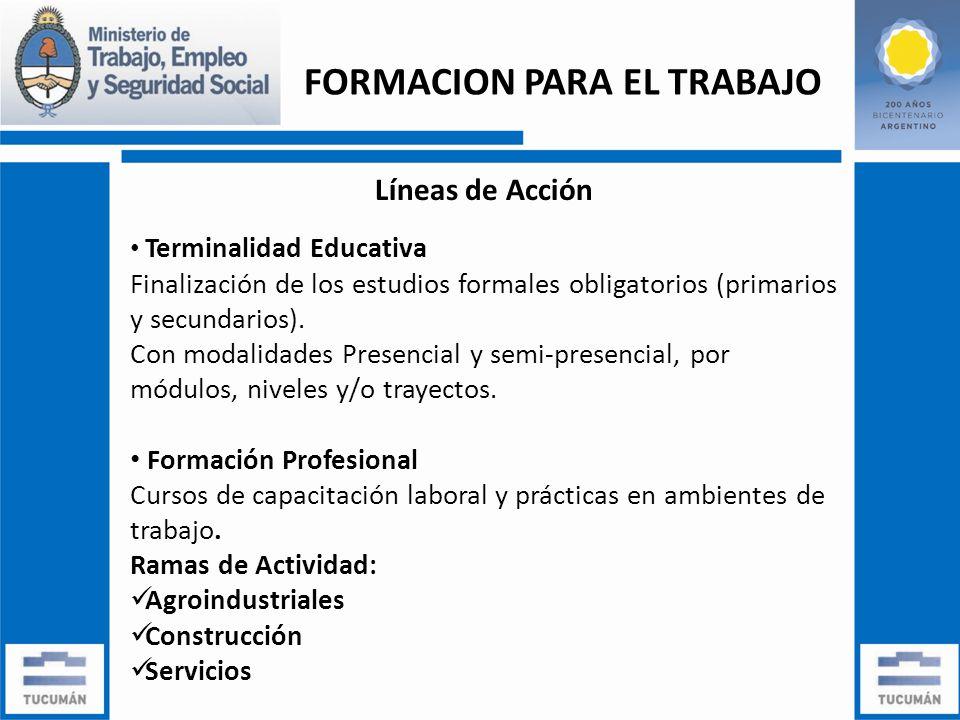 FORMACION PARA EL TRABAJO Líneas de Acción Terminalidad Educativa Finalización de los estudios formales obligatorios (primarios y secundarios).