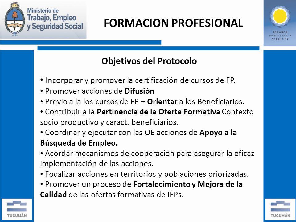 Objetivos del Protocolo Incorporar y promover la certificación de cursos de FP.
