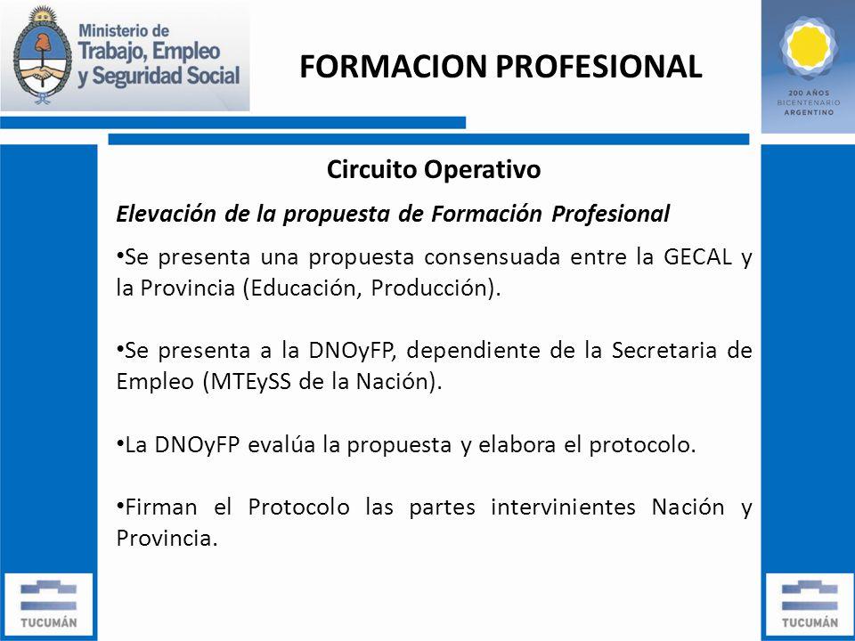 Circuito Operativo Elevación de la propuesta de Formación Profesional Se presenta una propuesta consensuada entre la GECAL y la Provincia (Educación, Producción).