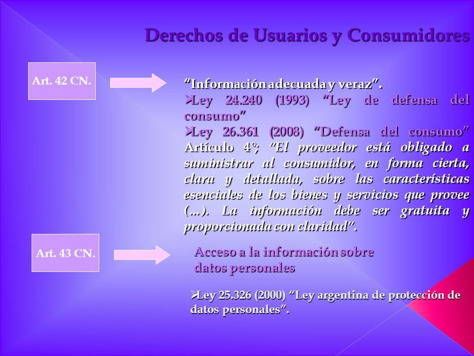 Art. 42 CN. Art. 43 CN. Derechos de Usuarios y Consumidores Información adecuada y veraz. Ley 24.240 (1993) Ley de defensa del consumo Ley 24.240 (199