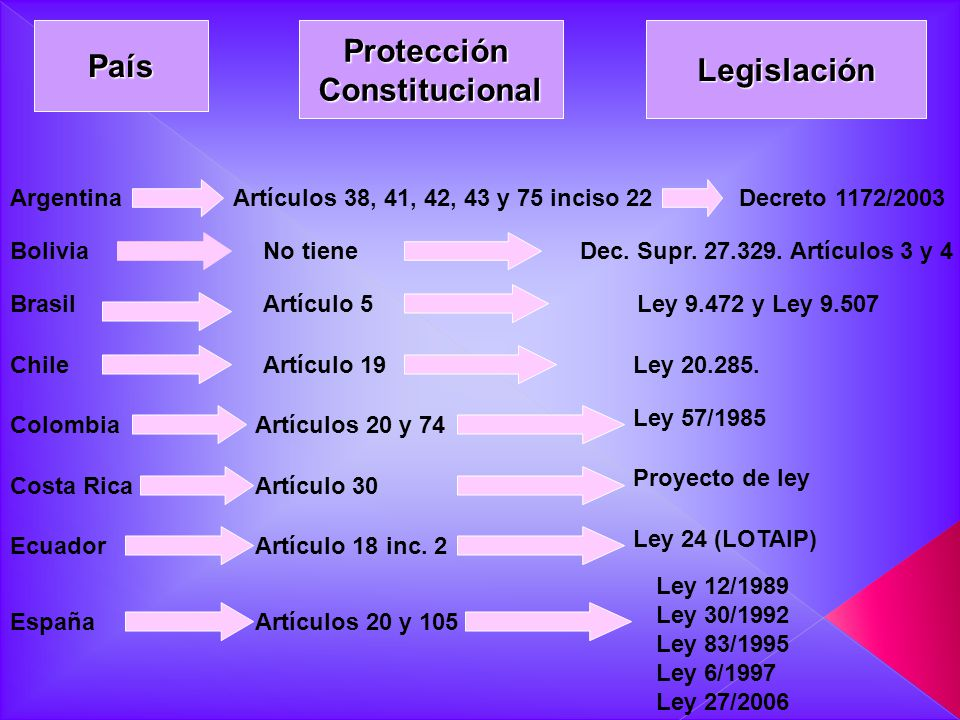 PaísProtecciónConstitucionalLegislación ArgentinaArtículos 38, 41, 42, 43 y 75 inciso 22Decreto 1172/2003 BoliviaNo tieneDec. Supr. 27.329. Artículos