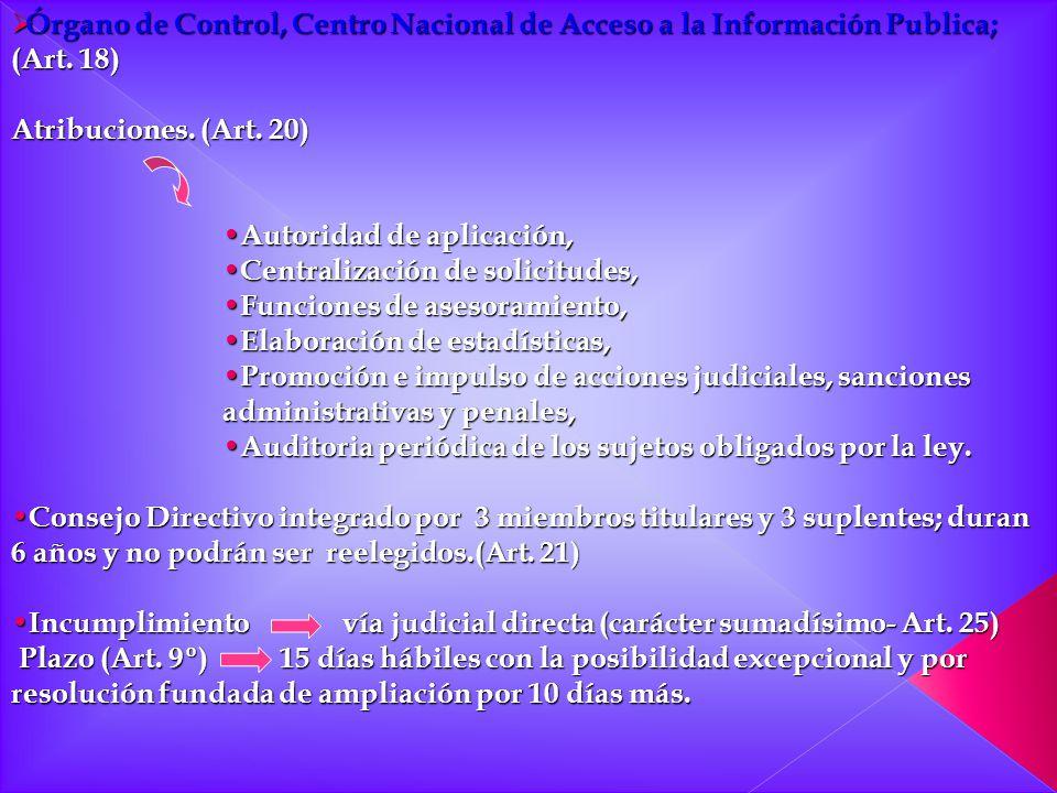 Órgano de Control, Centro Nacional de Acceso a la Información Publica; (Art. 18) Órgano de Control, Centro Nacional de Acceso a la Información Publica