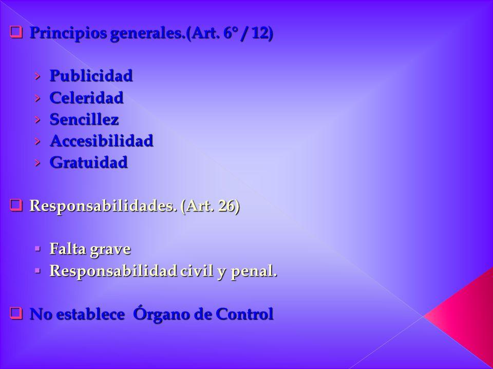 Principios generales.(Art. 6° / 12) Principios generales.(Art. 6° / 12) Publicidad Publicidad Celeridad Celeridad Sencillez Sencillez Accesibilidad Ac