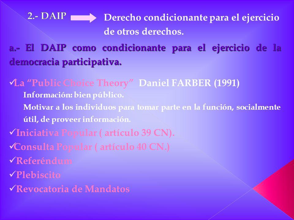 Derecho condicionante para el ejercicio de otros derechos. a.- El DAIP como condicionante para el ejercicio de la democracia participativa. La Public