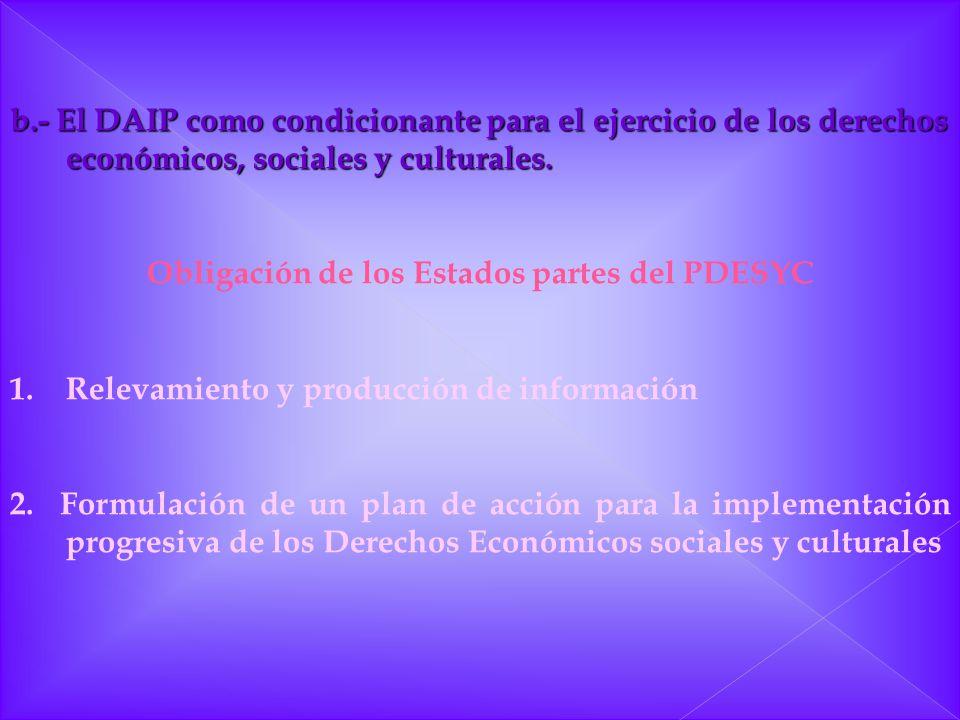 b.- El DAIP como condicionante para el ejercicio de los derechos económicos, sociales y culturales. Obligación de los Estados partes del PDESYC 1.Rele