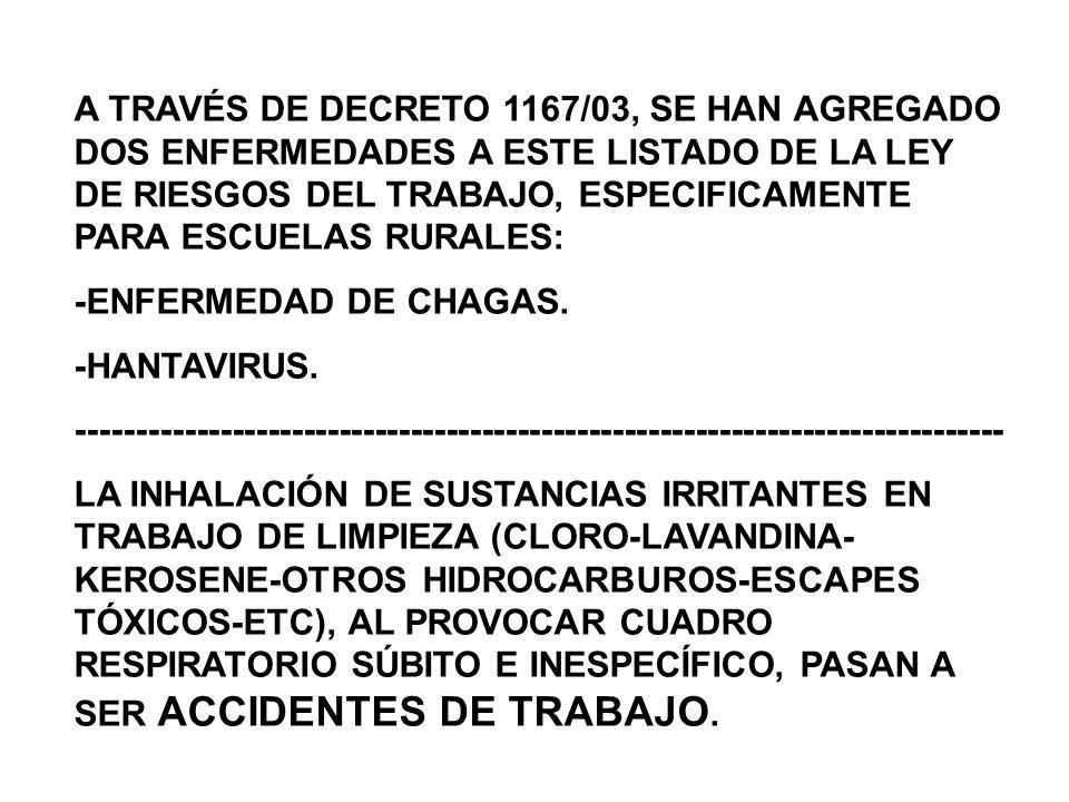 A TRAVÉS DE DECRETO 1167/03, SE HAN AGREGADO DOS ENFERMEDADES A ESTE LISTADO DE LA LEY DE RIESGOS DEL TRABAJO, ESPECIFICAMENTE PARA ESCUELAS RURALES: -ENFERMEDAD DE CHAGAS.