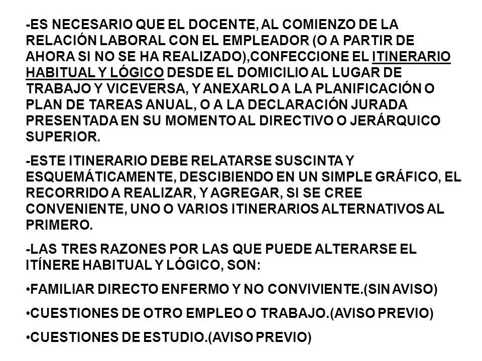 -ES NECESARIO QUE EL DOCENTE, AL COMIENZO DE LA RELACIÓN LABORAL CON EL EMPLEADOR (O A PARTIR DE AHORA SI NO SE HA REALIZADO),CONFECCIONE EL ITINERARIO HABITUAL Y LÓGICO DESDE EL DOMICILIO AL LUGAR DE TRABAJO Y VICEVERSA, Y ANEXARLO A LA PLANIFICACIÓN O PLAN DE TAREAS ANUAL, O A LA DECLARACIÓN JURADA PRESENTADA EN SU MOMENTO AL DIRECTIVO O JERÁRQUICO SUPERIOR.