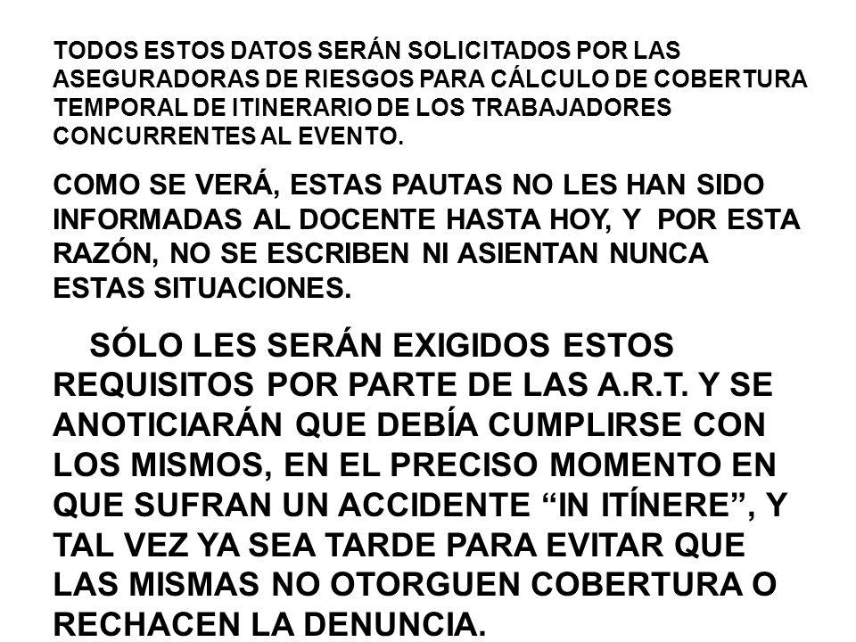 TODOS ESTOS DATOS SERÁN SOLICITADOS POR LAS ASEGURADORAS DE RIESGOS PARA CÁLCULO DE COBERTURA TEMPORAL DE ITINERARIO DE LOS TRABAJADORES CONCURRENTES AL EVENTO.