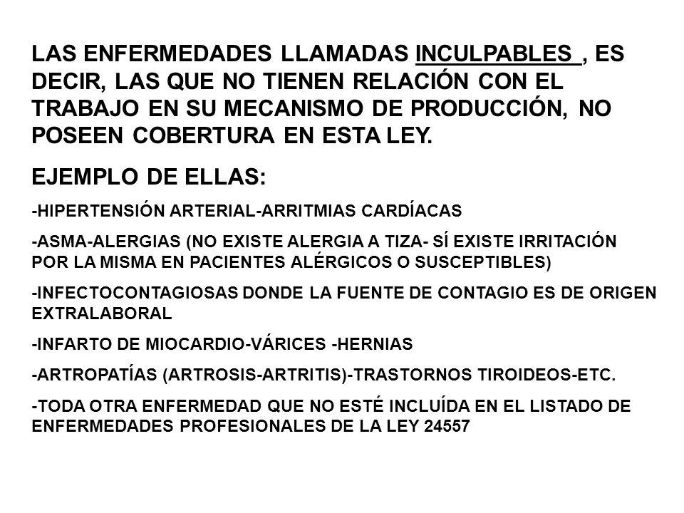¿CUÁLES SON LAS ENFERMEDADES PROFESIONALES QUE SE ENCUENTRAN EN EL LISTADO DE LA LEY 24557 PARA EL SECTOR DOCENTE.